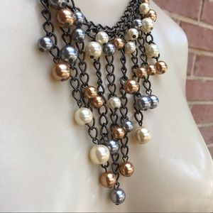 Jewelry - Waterfall Gunmetal Chain &  Faux Pearl Necklace
